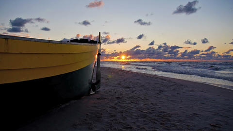 Fishing boat on the beach Stock Video Footage