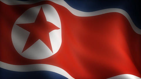Flag of North Korea Stock Video Footage