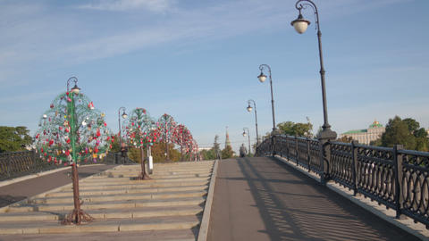 Walk Luzhkov bridge hyperlapse Stock Video Footage