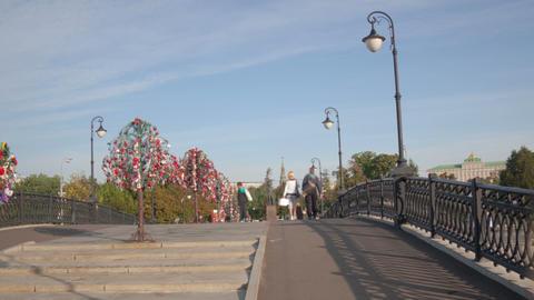 Walk Luzhkov bridge hyperlapse Stock Video Footage
