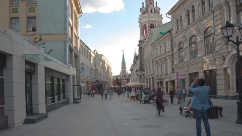 Nikolskaya street walk hyperlapse Stock Video Footage