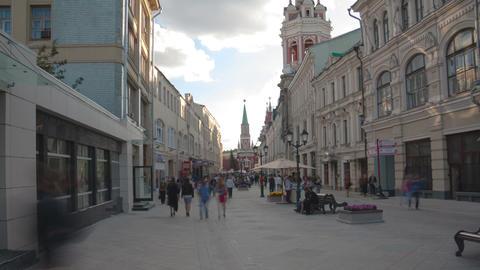 Nikolskaya street walk hyperlapse Stock Video Footage
