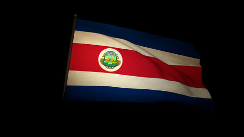 Flag Costa Rica 01 Stock Video Footage