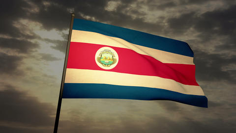 Flag Costa Rica 03 Stock Video Footage