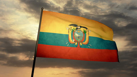 Flag Ecuador 03 Stock Video Footage