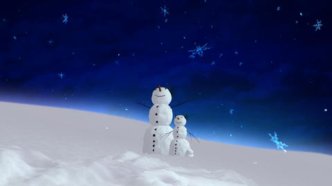 snowman and son blue sky wide Stock Video Footage