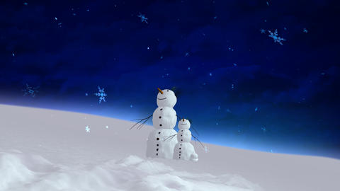 snowman and son blue sky wide Animation