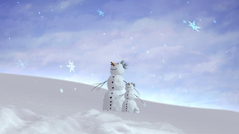 snowman and son sky wide Animation