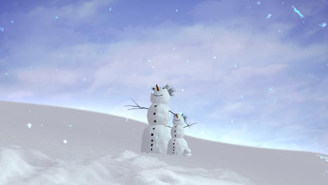 snowman and son sky wide Stock Video Footage