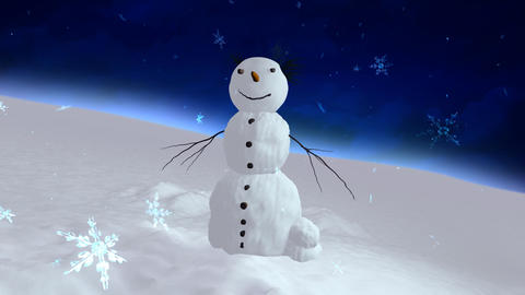 snowman blue sky center Stock Video Footage