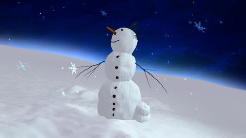 snowman blue sky center Animation