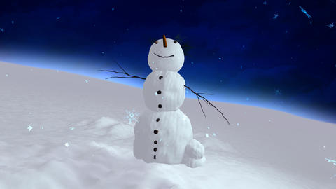 snowman blue sky center Stock Video Footage