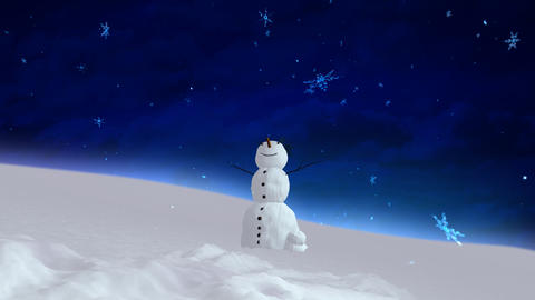 snowman blue sky wide angle Stock Video Footage