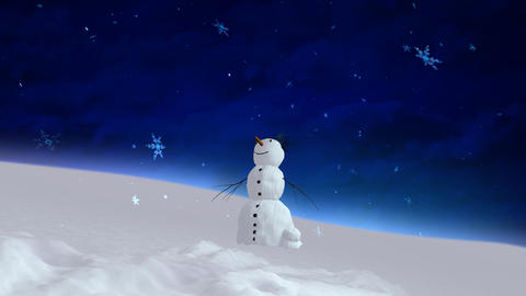 snowman blue sky wide angle Animation