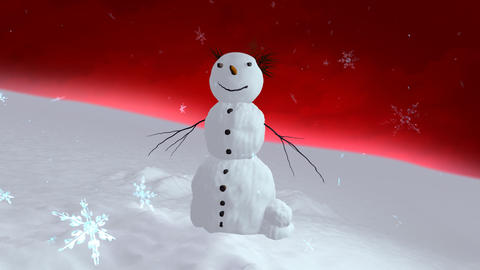 snowman red sky center Stock Video Footage