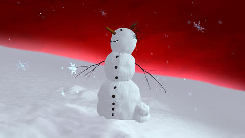 snowman red sky center Animation