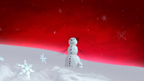 snowman red sky wide angle Stock Video Footage