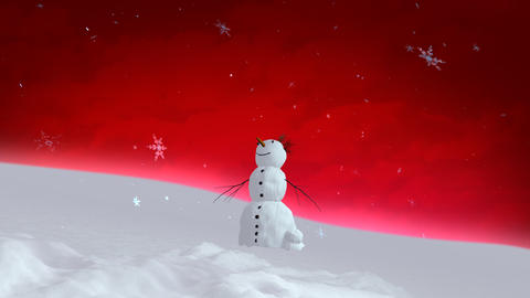 snowman red sky wide angle Animation