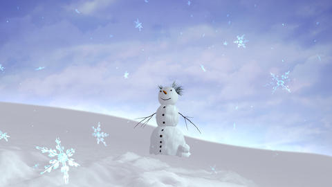 snowman sky wide angle Stock Video Footage