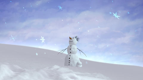 snowman sky wide angle Animation