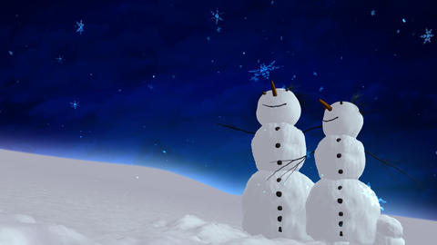 snowmen blue sky Stock Video Footage