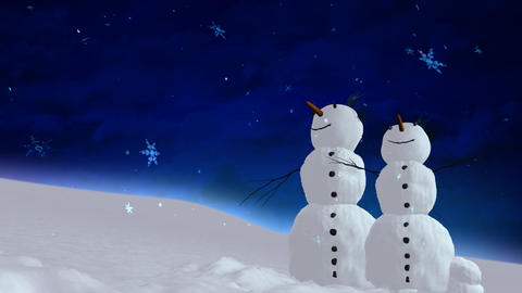 snowmen blue sky Animation