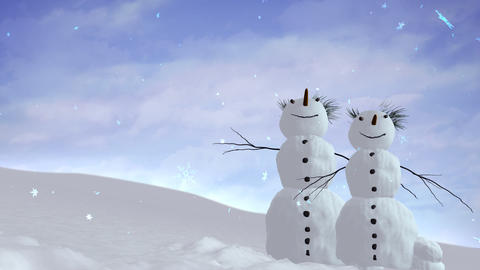 snowmen sky Stock Video Footage