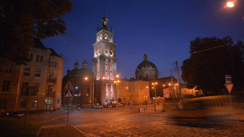 Night Lviv. Timelapse. August 3, 2013 Footage