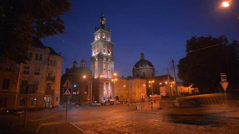 Night Lviv. Timelapse. August 3, 2013 Footage