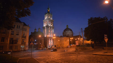 Night Lviv. Timelapse. August 3, 2013 Stock Video Footage