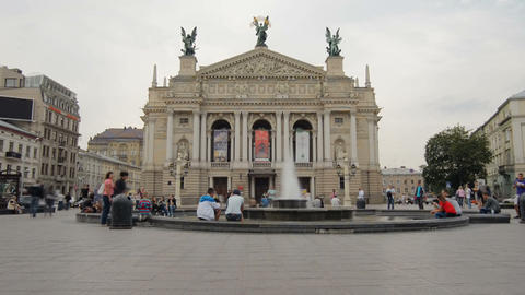 Lviv Theater of Opera .. Timelapse. August 3, 2013 Stock Video Footage
