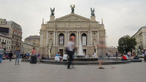 Lviv Theater of Opera .. Timelapse. August 3, 2013 Footage
