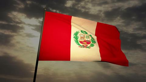 Flag Peru 03 Stock Video Footage
