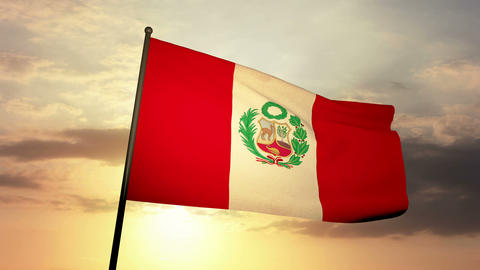 Flag Peru 03 Stock Video Footage