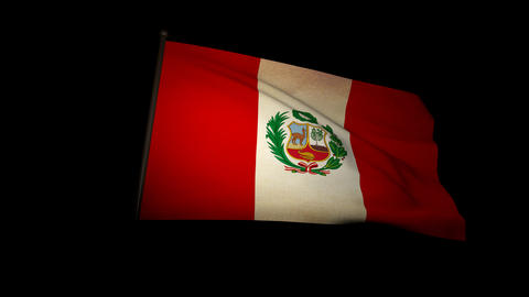 Flag Peru 01 Stock Video Footage