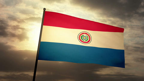 Flag Paraguay 03 Stock Video Footage