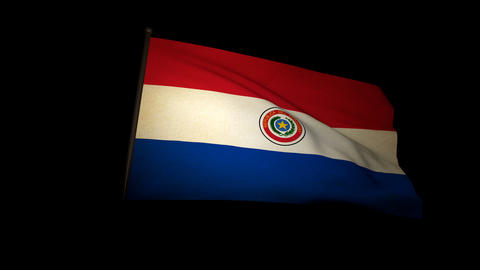 Flag Paraguay 01 Stock Video Footage