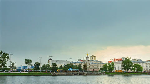 Rain passes over the city. Yekaterinburg Russia. T Footage