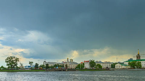 Rain passes over the city. Yekaterinburg Russia. T Stock Video Footage
