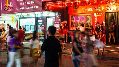 4k - RED LIGHT DISTRICT - Walking street in Patt Stock Video Footage
