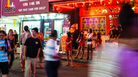 4k - RED LIGHT DISTRICT - Walking street in Patt Footage