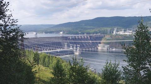 Krasnoyarsk hydroelectric power station dam 02 Stock Video Footage