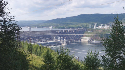 Krasnoyarsk hydroelectric power station dam 02 Stock Video Footage