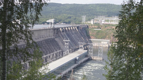 Krasnoyarsk hydroelectric power station dam 04 Stock Video Footage