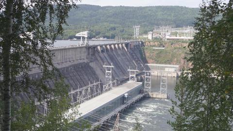 Krasnoyarsk hydroelectric power station dam 04 Stock Video Footage
