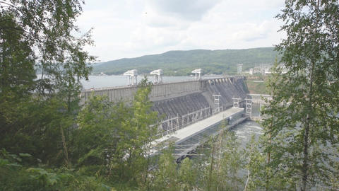 Krasnoyarsk hydroelectric power station dam 06 Stock Video Footage