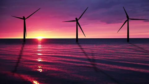 Wind power at sea Stock Video Footage