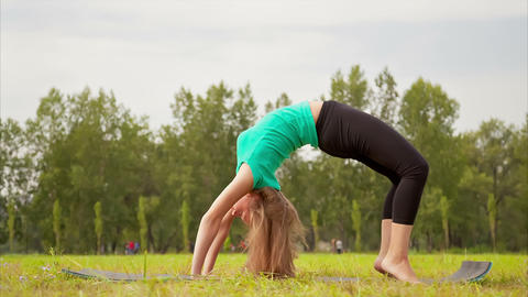Woman exercising in a meadow Stock Video Footage