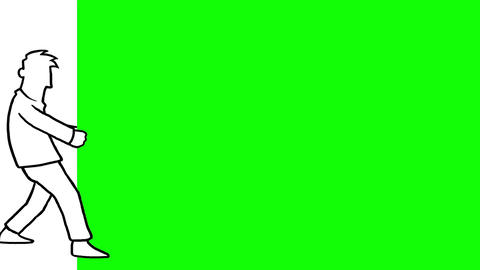 Man pulling a green screen Animation