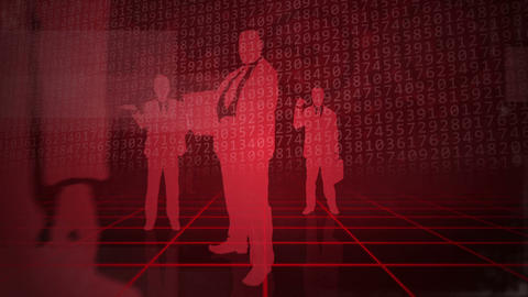 Red background with business people Animation
